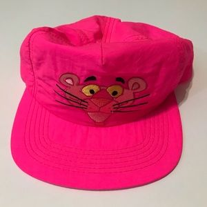 Vintage Hot Neon Pink Panther Flat Bill Snap Back